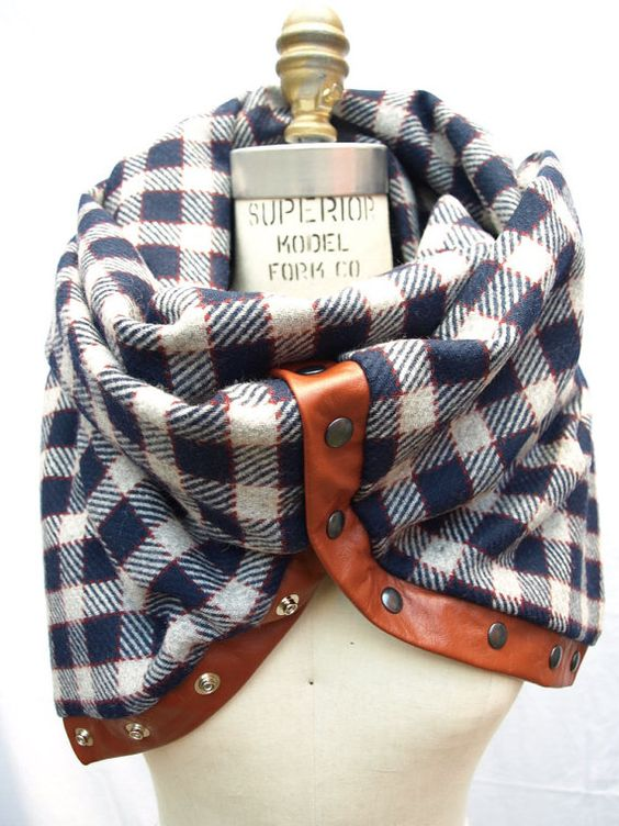 Different kind of scarf. I like it!: Leather Infinity, Button Up, Infinity Scarfs, Cute Scarfs, Cozy Scarf, Fall Winter, Plaid Scarf, Chunky Wool