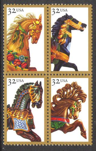 carousel horse stamps: