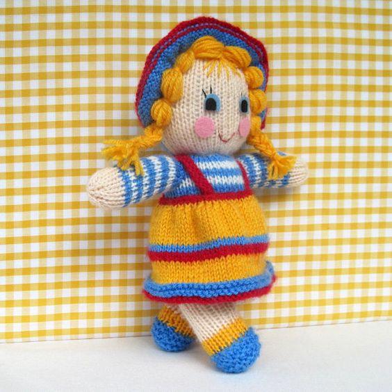 Sunny Sally toy doll knitting pattern INSTANT by toyshelf