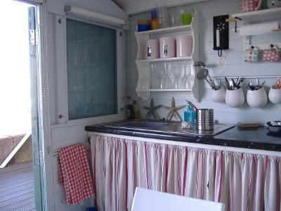 This beach hut is for hire in Whitstable for a week in the school summer hols at £160! Now I'm getting hopeful ... where's that penny jar?