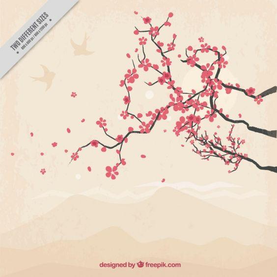 Mão fundo da árvore desenhada bonito cereja Vetor grátis