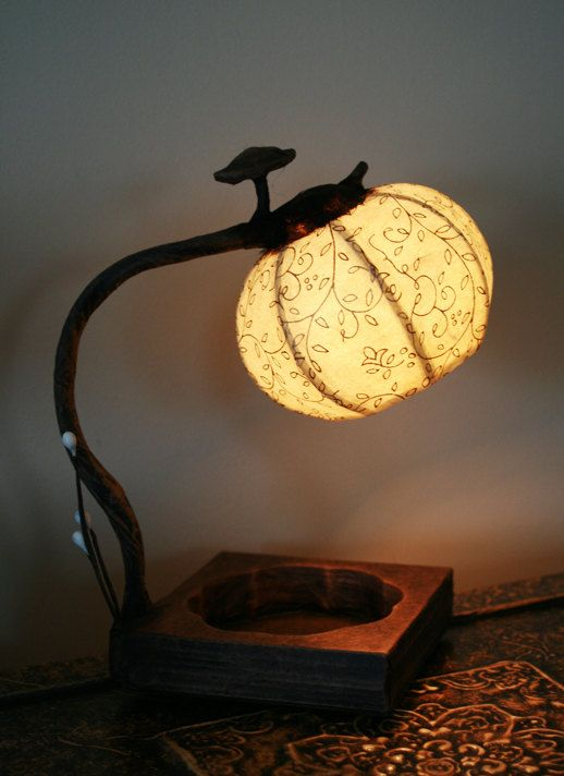 Hanji Small Desk Lamp Tear Drop by HanjiLight on Etsy