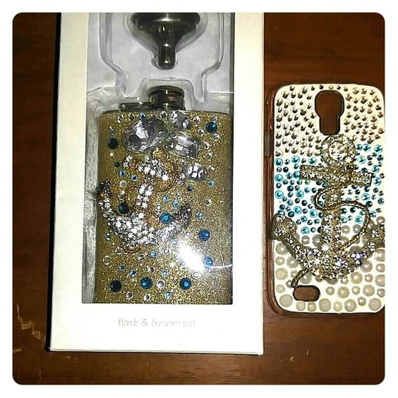 Flask, Funnel and Phone Case A rhinestone encrusted flask with a funnel, along with a Galaxy S4 encrusted phone case. This pair is absolutely fabulous! Icing Other