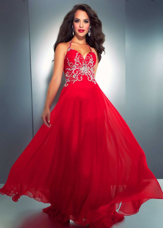 Mac Duggal 3213A - Red Beaded Halter Prom Dress