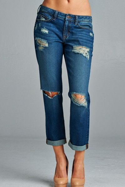 Meredith Boyfriend Jean in Dark Stone Wash: