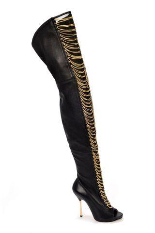 Alberto Moretti Black OTK Chain Boots Fall 2014 #Shoes #Heels