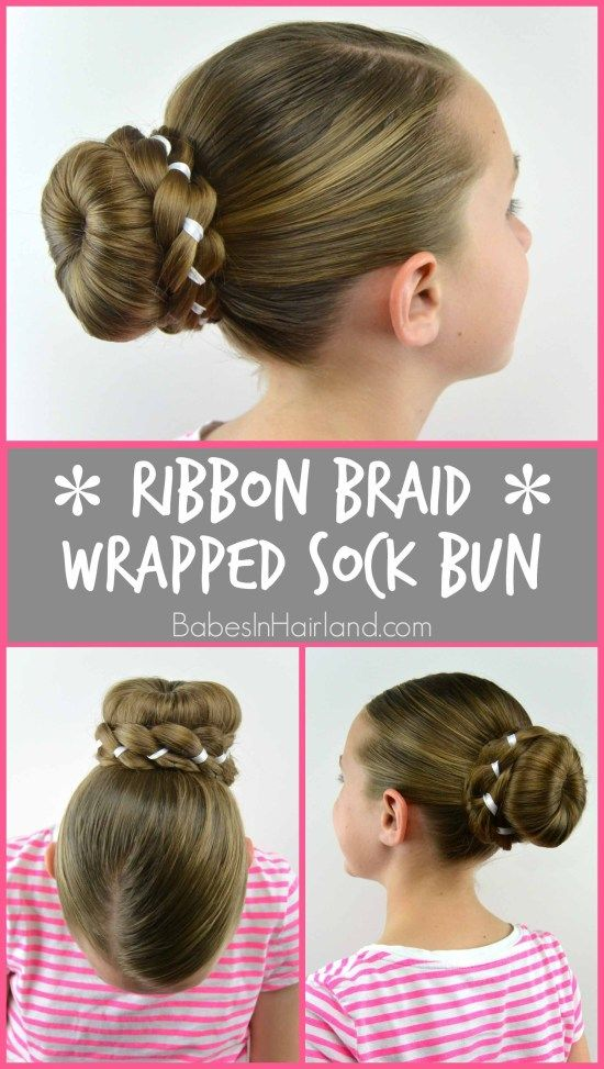 Ribbon Braid Wrapped Sock Bun Braid Ribbon Wrapped Kids Hairstyles Little Girl Hairstyles Cute Hairstyles For Kids