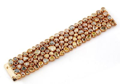 """The """"One Hundred"""" bracelet by Rahaminov Diamonds features 100 Fancy Colour Diamonds weighing in at a total of 100 carats."""