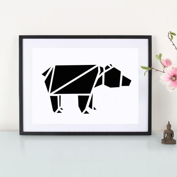Artprint / Origami Bär By : Eulenschnitt