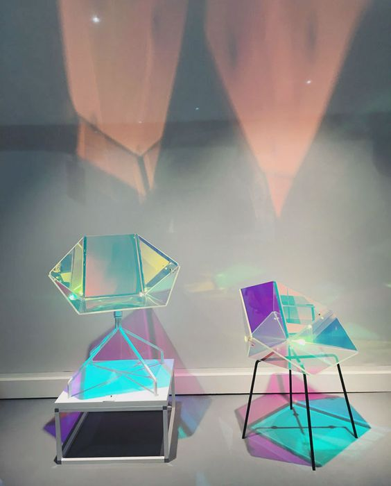 "A dichroic film applied to the seat of Eli5e Design's 'Prismania Chair' creates a colourful iridescent glow Read more at <a href=""http://www.wallpaper.com/salone-del-mobile/2016#a69zCjfQVaKRYHCY.99"" rel=""nofollow"" target=""_blank"">www.wallpaper.com...</a> Salone del Mobile 2016 