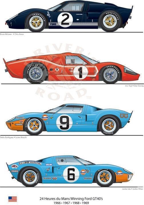 Ford Gt40 Le Mans Winners 1966 1969 Ford Racing Ford Gt40 Ford Motorsport