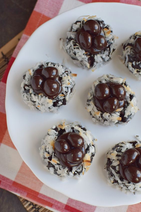 Chocolate cookies with coconut, a chocolate center, and chocolate covered coffee beans will satisfy your chocolate desires.