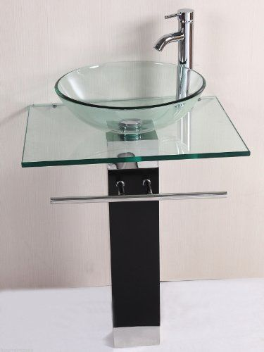 Egler New Modern Home Bathroom Vanity Pedestal Glass Sink W Chrome Faucet Wood Base Generic
