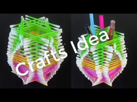 Make Amazing Pen Stand Out Of Cotton Buds Diy Awesome