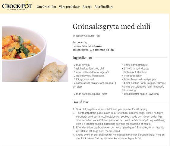 Grönsaksgryta med chili