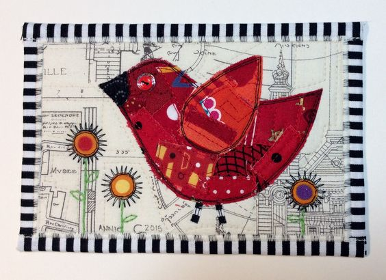 From tiny red fabric scraps came this fun touring red bird.  He's flown off to Scotland and arrived safe and sound.