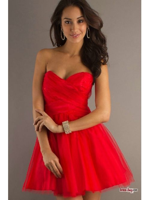 Buy Custom Made High Quality Fabulous Summer Style A Line Short Strapless Sweetheart Natural Backless Red Homecoming/Graduation Dresses Under $ 100