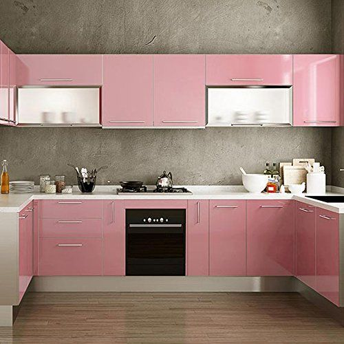 Yazi Gloss Self Adhesive Vinyl Kitchen Cupboard Door Cover Drawer Wardrobe Contact Paper 24x98 Inch Pink Kitchen Cupboards Kitchen Cupboard Doors Desk Cover