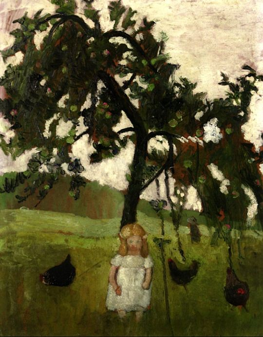 Paula Modersohn-Becker - Figurative Painting - German Expressionism - Elizabeth with Hens under an Apple Tree Paula - 1902