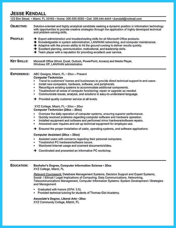 Resume Sample  Resources Computer Technician Resume Sample Examples