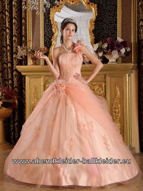 One Shouler Sissi Kleid Ballkleid mit 3D Rosen