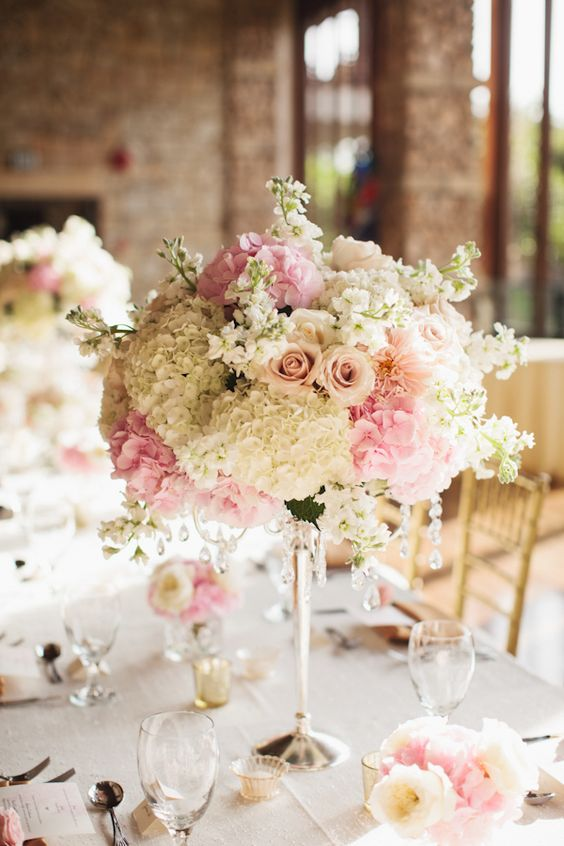 Romantic light pink and white floral centerpiece - Photo by Sara and Rocky Photography