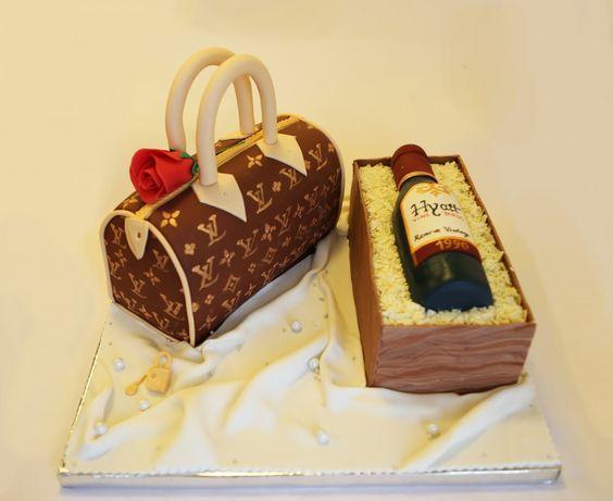 Designer handbag and wine bottle cake