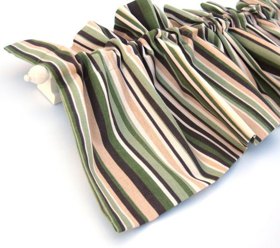Green Curtains brown cream and green curtains : GULLY Valance Curtain Green Brown and Cream Stripes 43