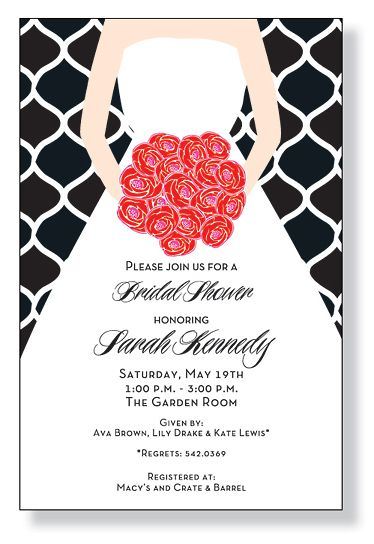This flat modern bridal shower invitation features a bride holding a bouquet of red roses on a black and white patterned background.