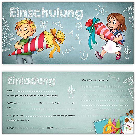 Einschulung Einladungskarten Mit Umschlagen 12er Set Zum Schulanfang Liebevoll Ges Einladung Einschulung Einladung Schulanfang Einladungskarten Einschulung