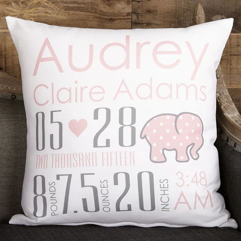Baby Girls White Pink Elephant Name Birthdate Weight Inches Pillow Cover