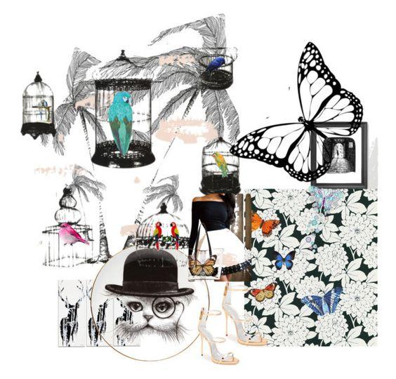 """Grown Up Alice"" by katiekickass86 ❤ liked on Polyvore featuring Silhouette, Rory Dobner, Brewster Home Fashions, Herend, NOVICA, Liljebergs, Juliska, WallPops, Carlos by Carlos Santana and Giuseppe Zanotti"