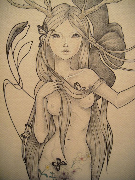 fairy, pencil drawing