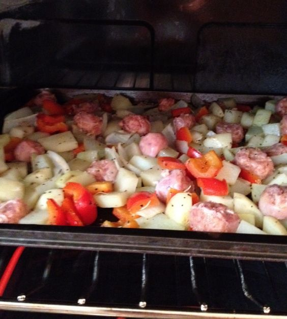 Sausage and peppers, Chicken sausage and Roasted potatoes on Pinterest