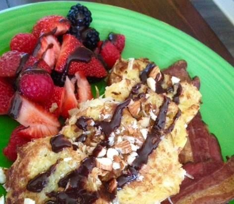 Coconut French Toast with a Tropical Twist has become a favorite of guests at The Carlton Inn Bed and Breakfast in Carlton, Oregon.  Once you've tried it you'll know why!