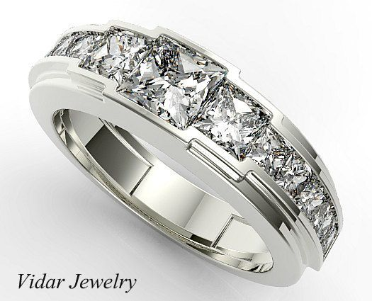 Mens Wedding Band Diamond Mens Wedding Band Unique Wedding Band Princess Diamond Wedding Band Fo Mens Diamond Wedding Bands Men Diamond Ring Mens Wedding Rings