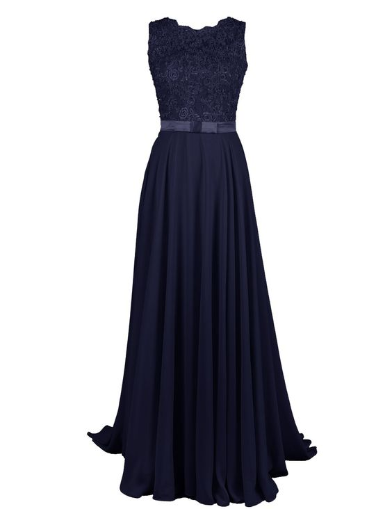 Dressystar Long Chiffon Formal Prom Gowns Lace Appliques