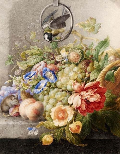 Henstenburg, Herman (1667 - 1726) - Still Life With Flowers, Fruit, A Black Bird And A Mouse (1700-10) ~ the Morning Glories are a nice touch <3