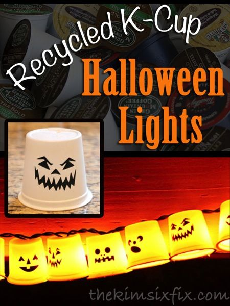 Look what she did with thiese recycled Kcups! Halloween lights! Love this!
