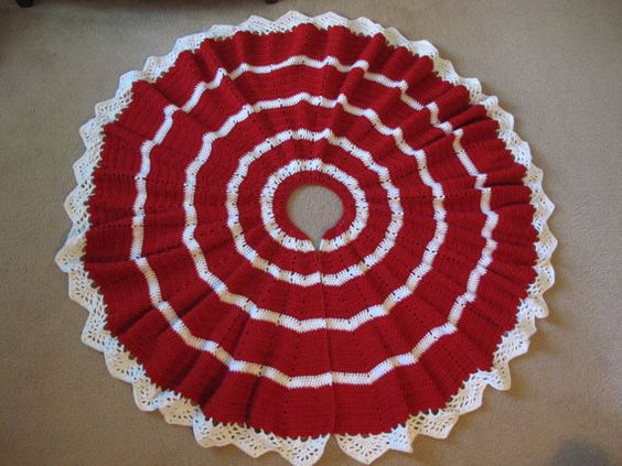 Crocheted christmas tree skirt red and white trees
