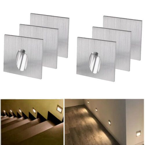 6x 1w Led Recessed Step Stair Wall Light Indoor Walkway Sconces