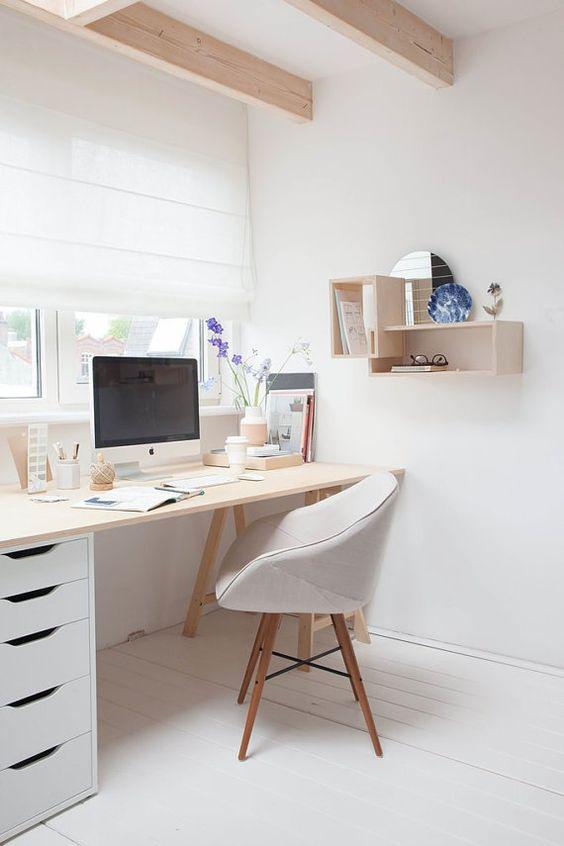 Estudio LileSadi + Siebring & Zoetmulder // Studio / office - all white / neutrals - wood / plywood - chair - shelves / storage - window - curtain - white floor