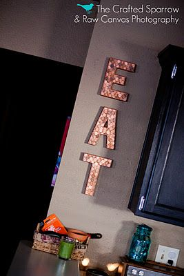 What to do with all those pennies? Cover some letters and use as wall art