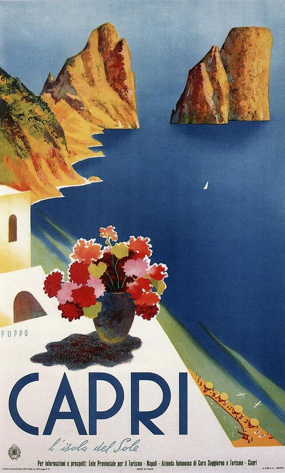 My very favourite holiday destenation. Capri 1952 - Italy, Italian vintage old repro travel poster...