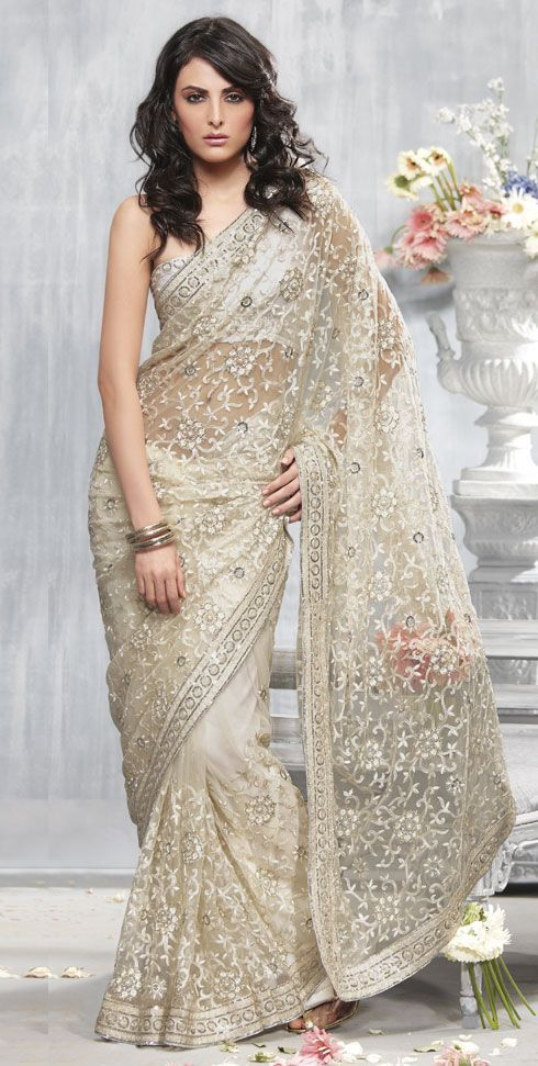 Grey net saree for bridals