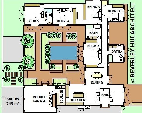 U Shaped House Plans With Pool In The Middle Courtyard Horseshoe Design By Architect Containerhomesc Pool House Plans U Shaped House Plans U Shaped Houses