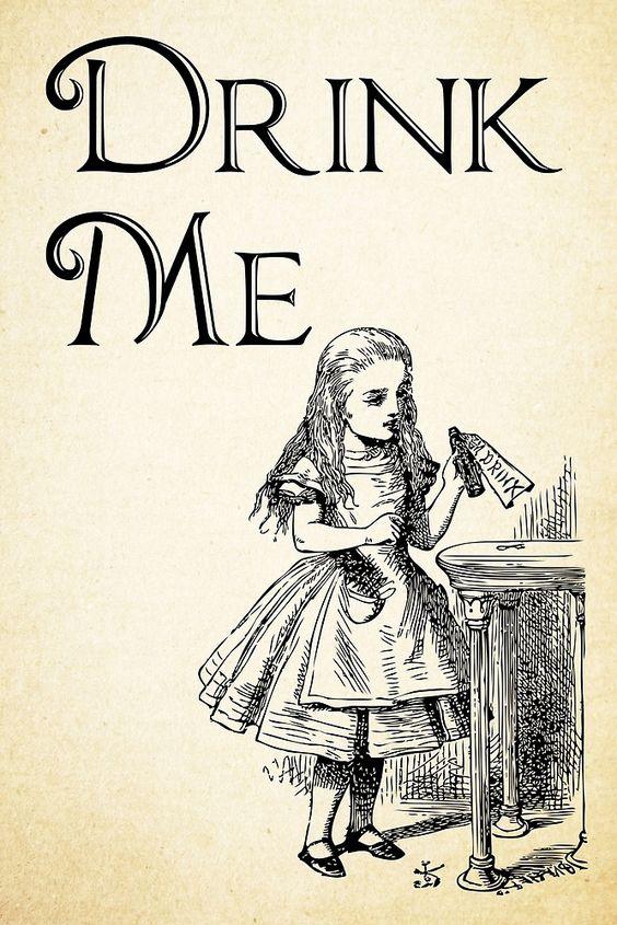 Alice in Wonderland Quote - DRINK ME - Lewis Carroll Qote - 0195 ...