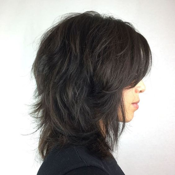 Feathered Black Shag with Side Bangs