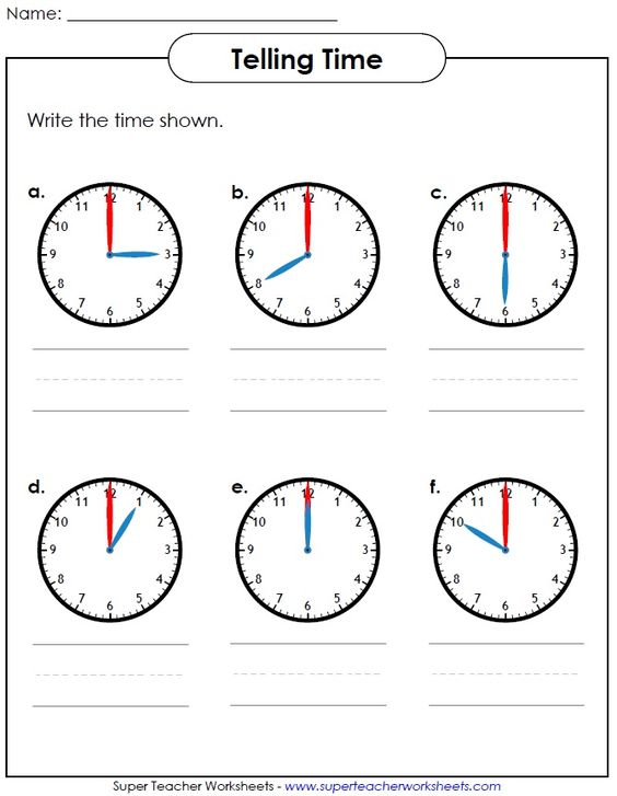 Help your students learn how to tell time Visit Super Teacher – Super Teacher Worksheets for Kindergarten