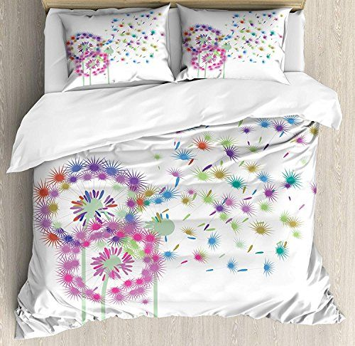 Dandelion Full Bedding Duvet Cover Set 4 Piece Hotel Quality Luxury Soft Brushed Microfiber Colorful Blowball Flowers In W Bedding Sets Full Bedding Sets Bed